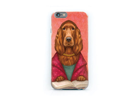 "iPhone cover ""Reading books removes sorrow from the heart"" (Irish Setter)"