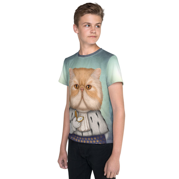 "Unisex youth T-shirt ""Punctuality is the politeness of kings"" (Persian cat)"