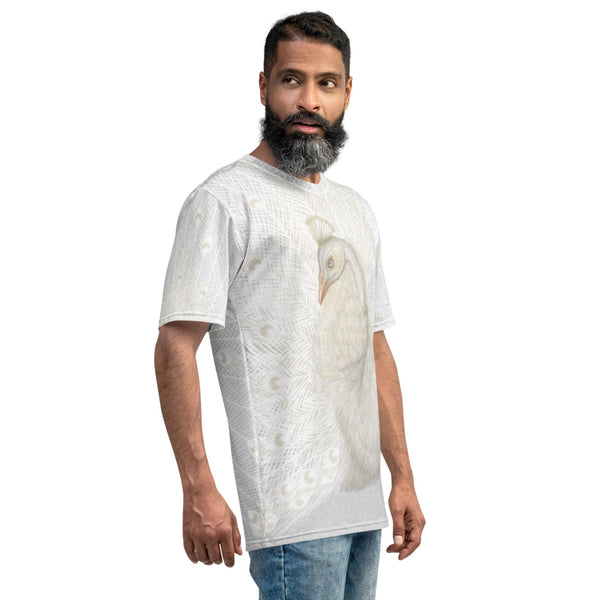 "Men's T-shirt ""Every bird is proud of its feathers"" (White Peacock)"