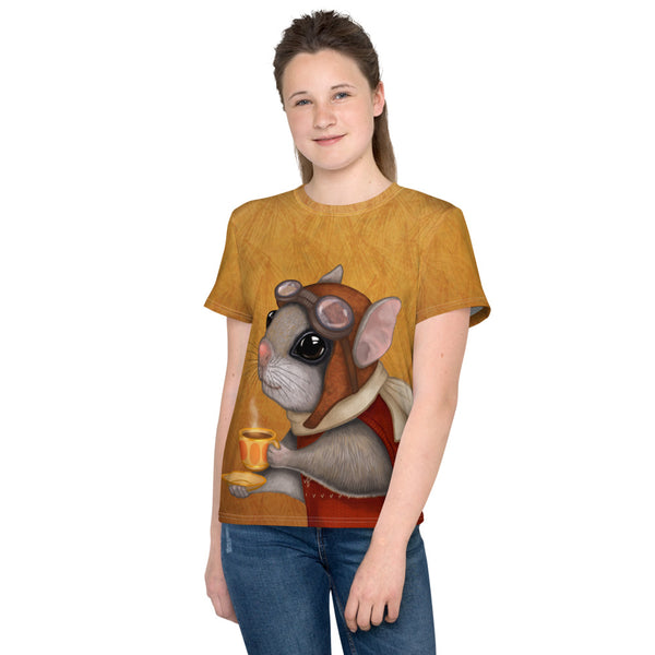 "Unisex youth T-shirt ""Who is timid in the woods boasts at home"" (Flying squirrel)"