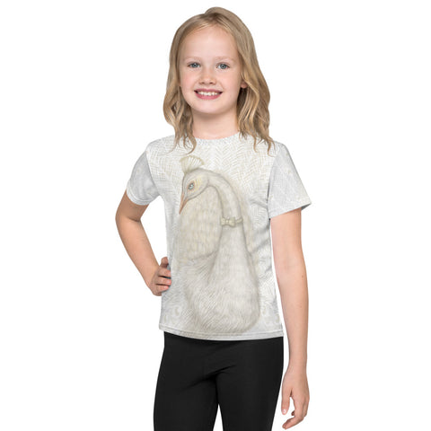 "Unisex kids T-shirt ""Every bird is proud of its feathers"" (White Peacock)"