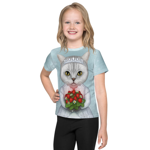 "Unisex kids T-shirt ""Don't marry a girl who wants strawberries in January"" (British Shorthair)"