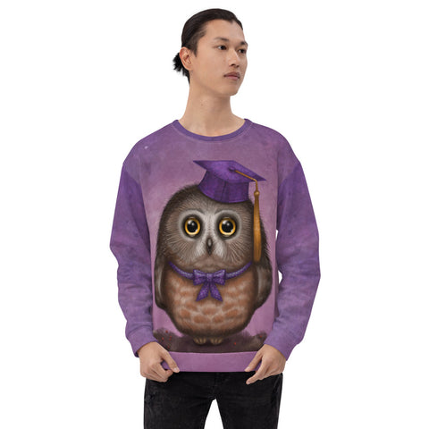 "Unisex sweatshirt ""Wonder is beginning of wisdom"" (Owl)"