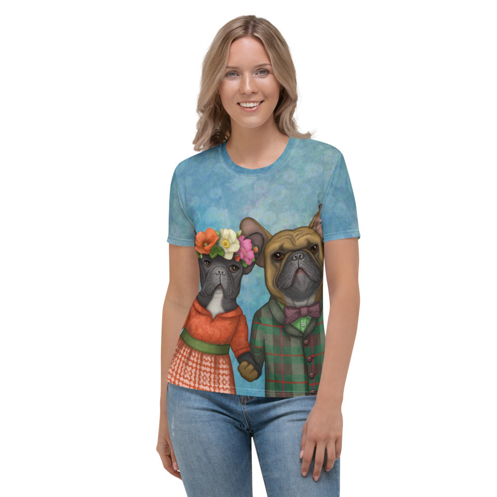 "Women's T-shirt ""A life without love is like a year without summer"" (French Bulldogs)"