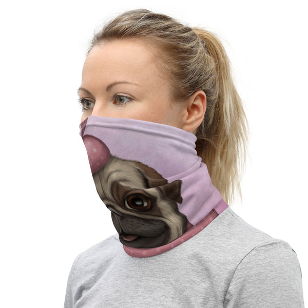 "Neck gaiter ""A full stomach makes a happy heart"" (Pug)"