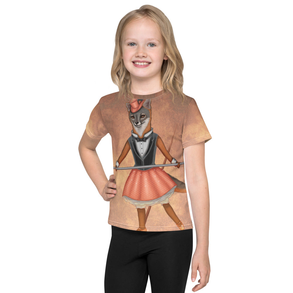 "Unisex kids T-shirt ""A sense of humor is the pole to balance our steps on the tightrope of life"" (Island fox)"