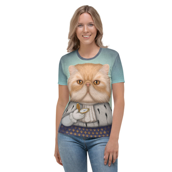 "Women's T-shirt ""Punctuality is the politeness of kings"" (Persian cat)"