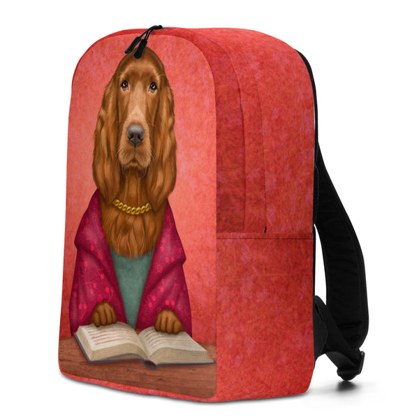 "Backpack ""Reading books removes sorrow from the heart"" (Irish setter)"