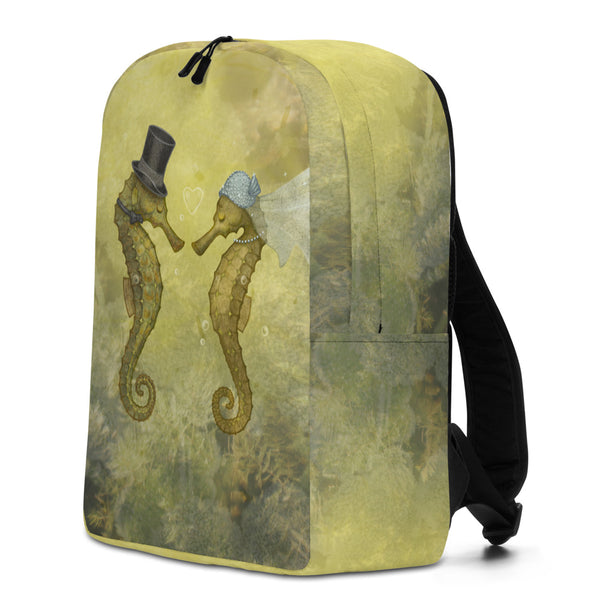 "Backpack ""Sea has hundred hearts"" (Seahorses)"