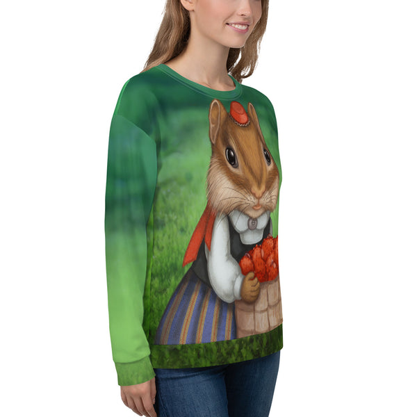 "Unisex sweatshirt ""Other land blueberry, own land strawberry"" (Chipmunk)"