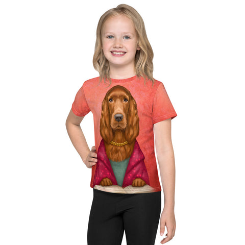 "Unisex kids T-shirt ""Reading books removes sorrow from the heart"" (Irish Setter)"