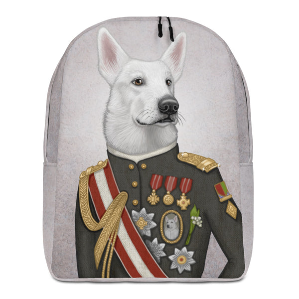 "Backpack ""A king's face should show grace"" (White Swiss shepherd dog)"