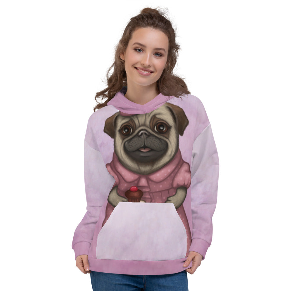 "Unisex hoodie ""A full stomach makes a happy heart"" (Pug)"