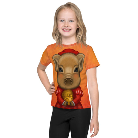 "Unisex kids T-shirt ""A small gift is better than a great promise"" (Wild boar)"