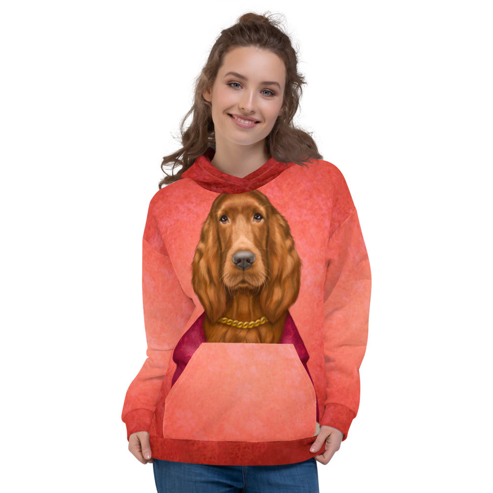 "Unisex hoodie ""Reading books removes sorrow from the heart"" (Irish Setter)"
