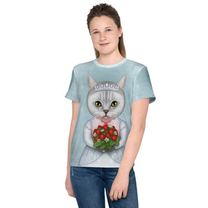 "Unisex youth T-shirt ""Don't marry a girl who wants strawberries in January"" (British Shorthair)"
