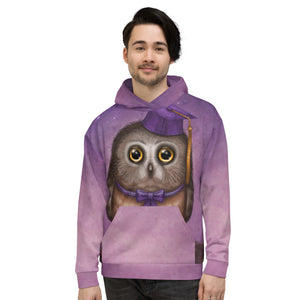 "Unisex hoodie ""Wonder is beginning of wisdom"" (Owl)"