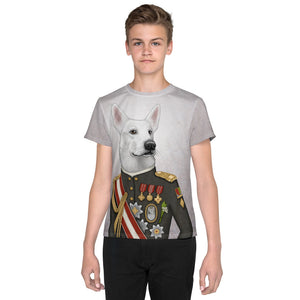 "Unisex youth T-shirt ""A king's face should show grace"" (White Swiss Shepherd Dog)"