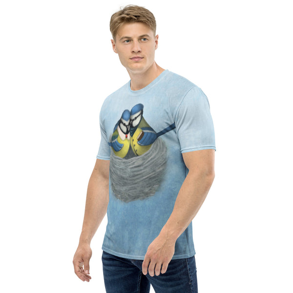 "Men's T-shirt ""East or West, home is best"" (Blue tits)"