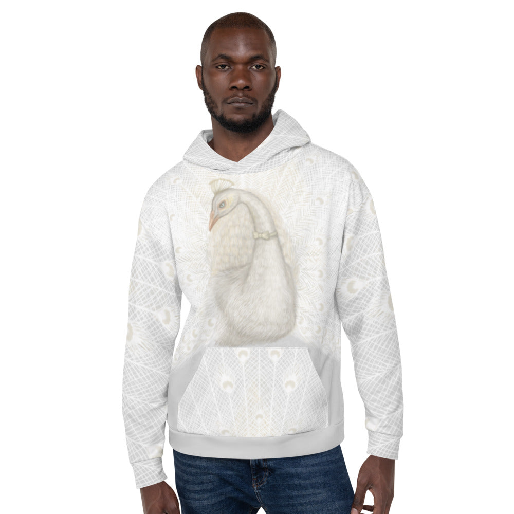 "Unisex hoodie ""Every bird is proud of its feathers"" (White Peacock)"