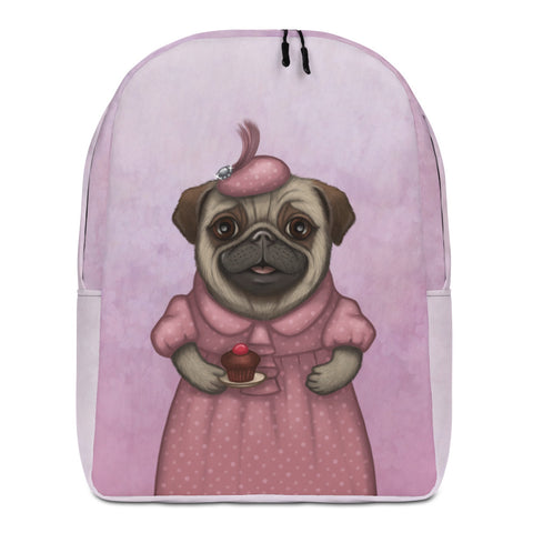 "Backpack ""A full stomach makes a happy heart"" (Pug)"