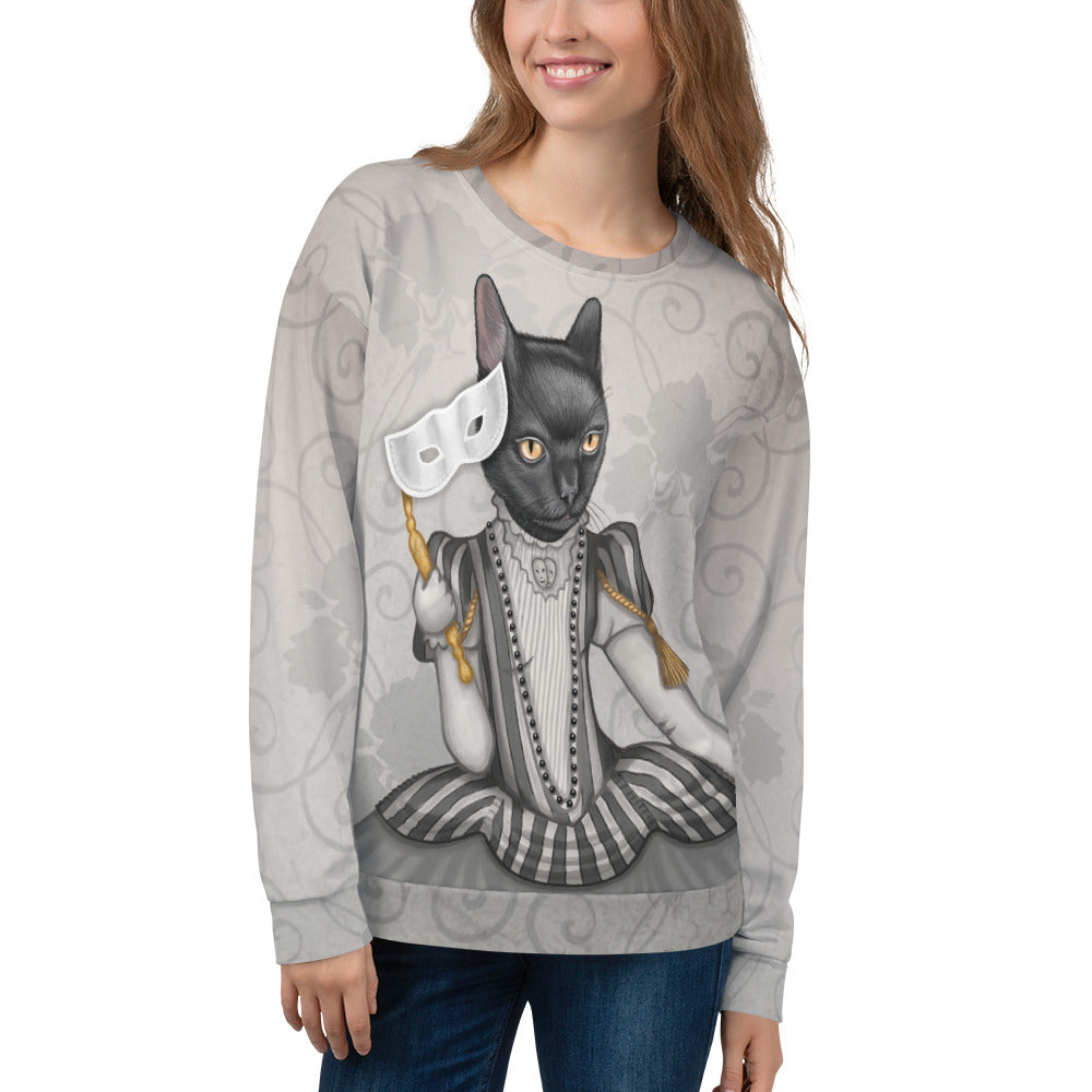 "Unisex sweatshirt ""The face is a mask, look behind it"" (Cat)"