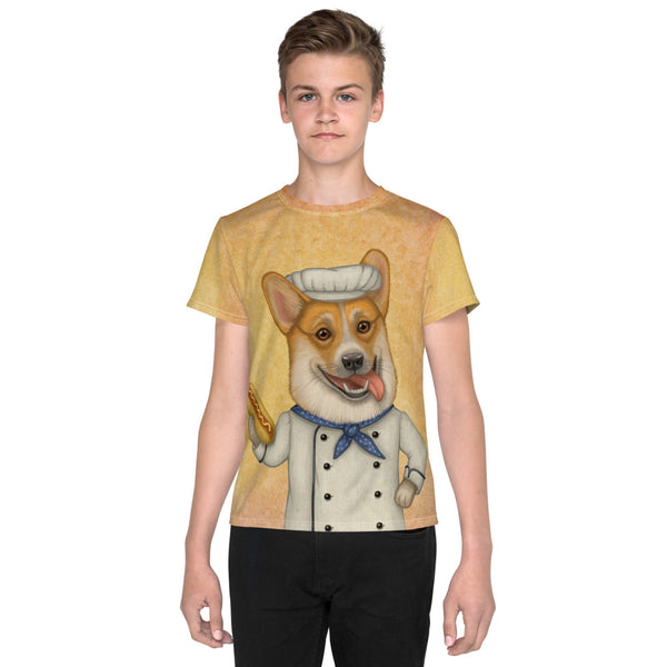 "Unisex youth T-shirt ""An empty belly is the best cook"" (Pembroke Welsh Corgi)"