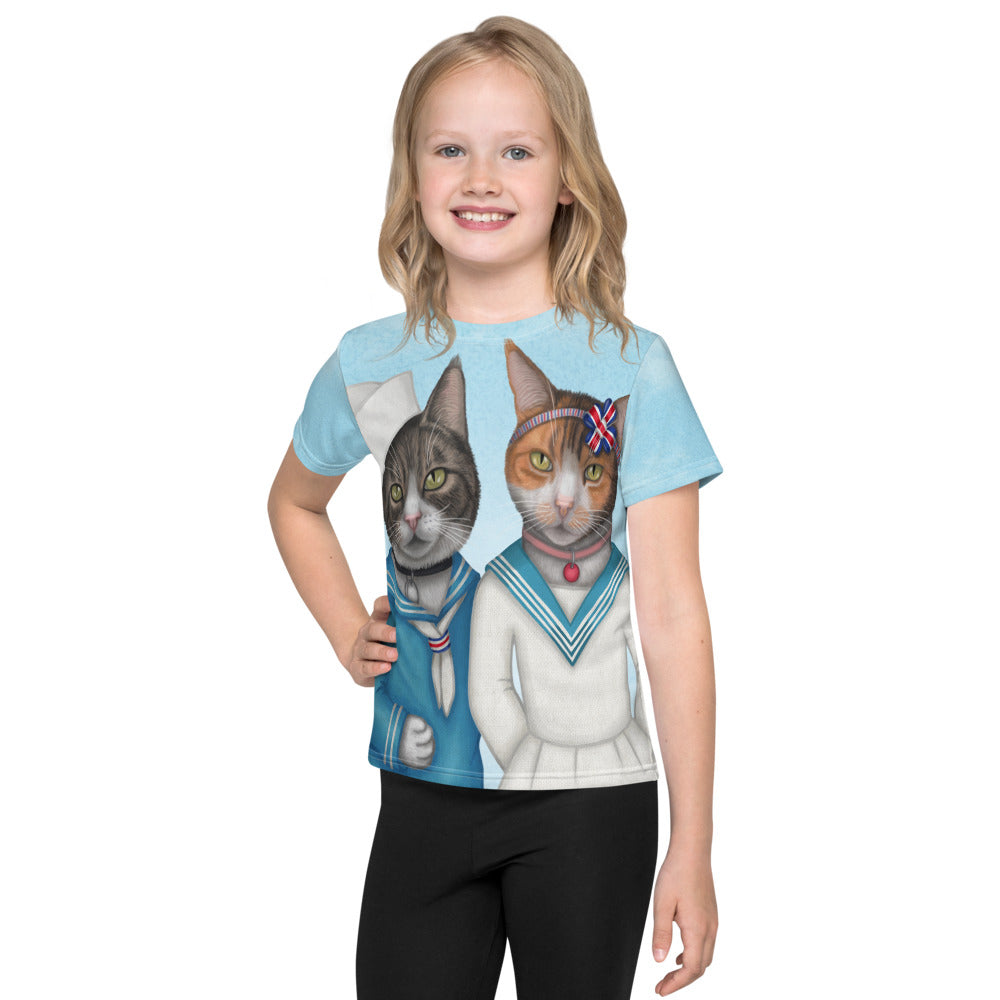 "Unisex kids T-shirt ""Brothers and sisters are as close as hands and feet"" (Cats)"