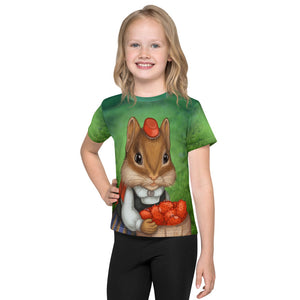 "Unisex kids T-shirt ""Other land blueberry, own land strawberry"" (Chipmunk)"
