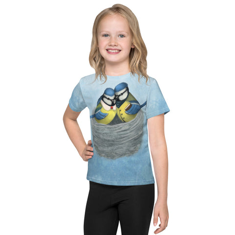 "Unisex kids T-shirt ""East or West, home is best"" (Blue tits)"