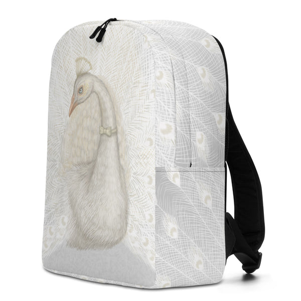 "Backpack ""Every bird is proud of its feathers"" (White peacock)"