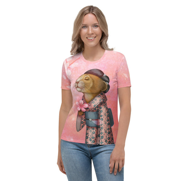 "Women's T-shirt ""A fallen blossom never returns to the branch"" (Pika)"