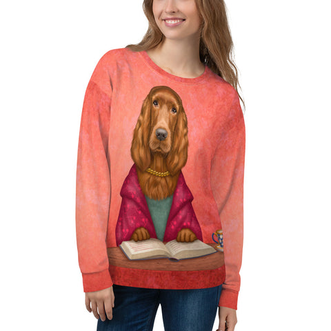 "Unisex sweatshirt ""Reading books removes sorrow from the heart"" (Irish Setter)"
