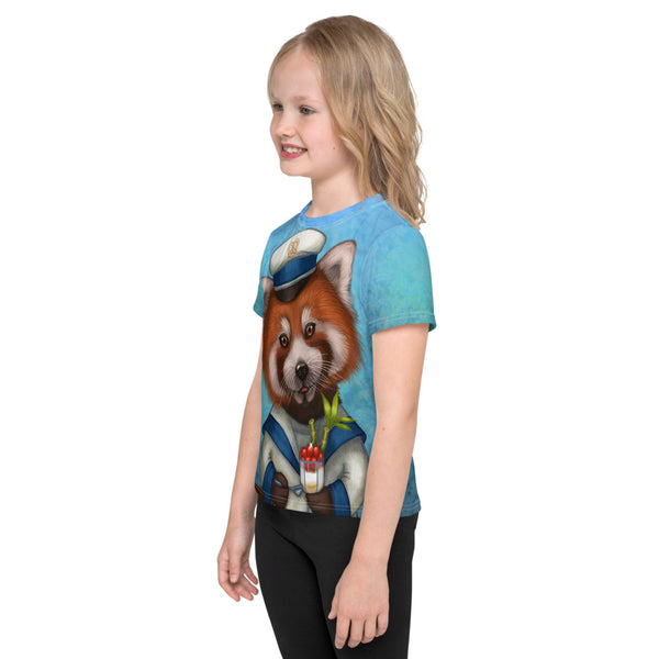 "Unisex kids T-shirt ""Life is uncertain so eat your dessert first"" (Red panda)"