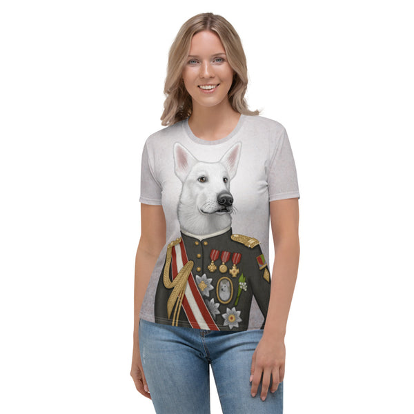 "Women's T-shirt ""A king's face should show grace"" (White Swiss Shepherd Dog)"