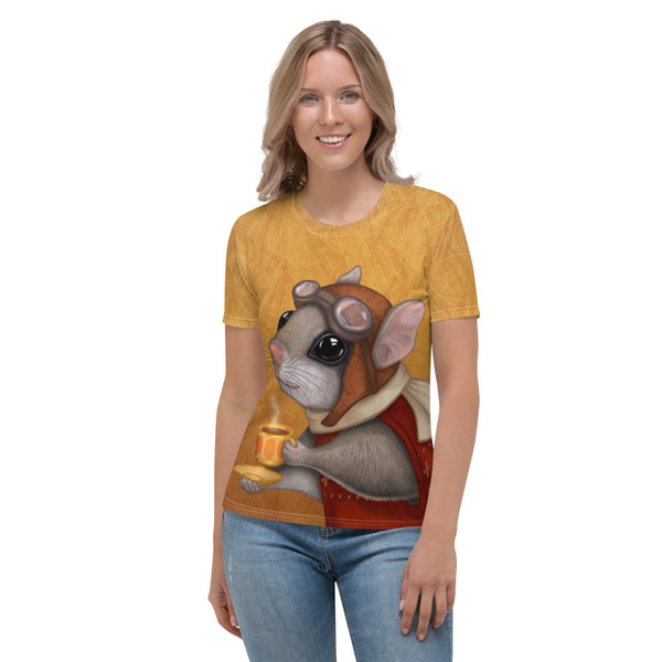 "Women's T-shirt ""Who is timid in the woods boasts at home"" (Flying squirrel)"
