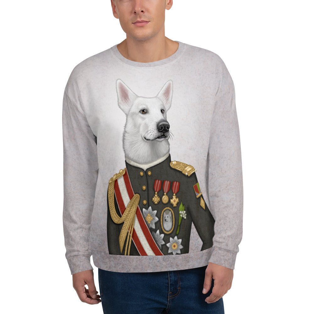 "Unisex sweatshirt ""A king's face should show grace"" (White Swiss Shepherd Dog)"