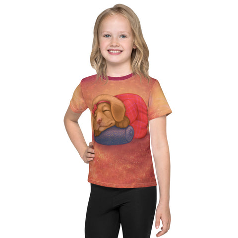 "Unisex kids T-shirt ""Let her sleep for when she wakes she will move mountains"" (Nova Scotia Duck Tolling Retriever)"