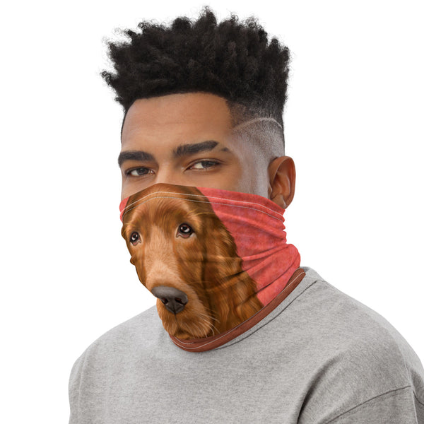 "Neck gaiter ""Reading books removes sorrow from the heart"" (Irish Setter)"