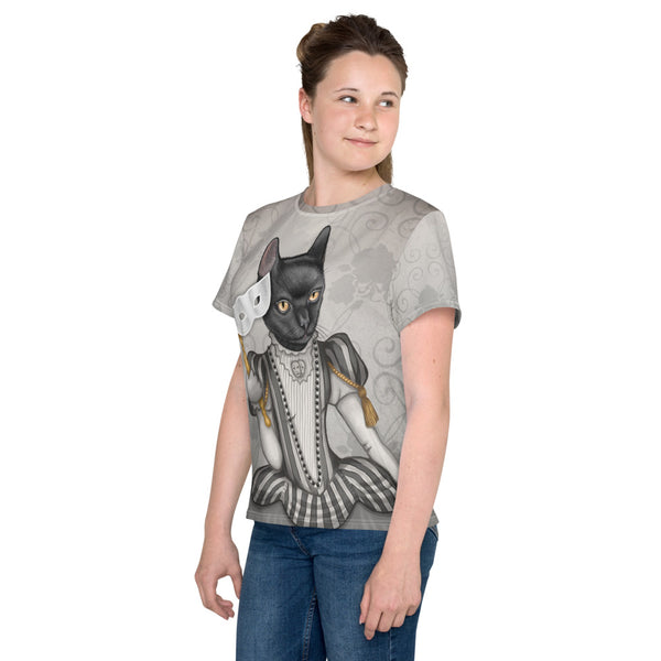 "Unisex youth T-shirt ""The face is a mask, look behind it"" (Cat)"