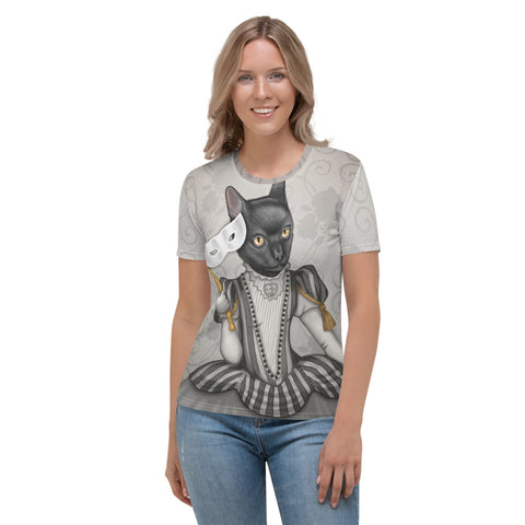 "Women's T-shirt ""The face is a mask, look behind it"" (Cat)"