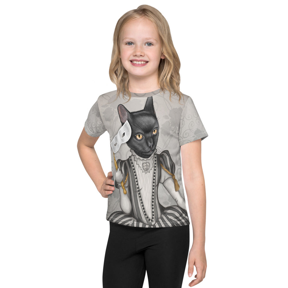 "Unisex kids T-shirt ""The face is a mask, look behind it"" (Cat)"