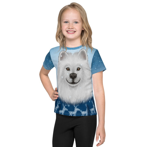"Unisex kids T-shirt ""No snowflake ever falls in the wrong place"" (Samoyed)"