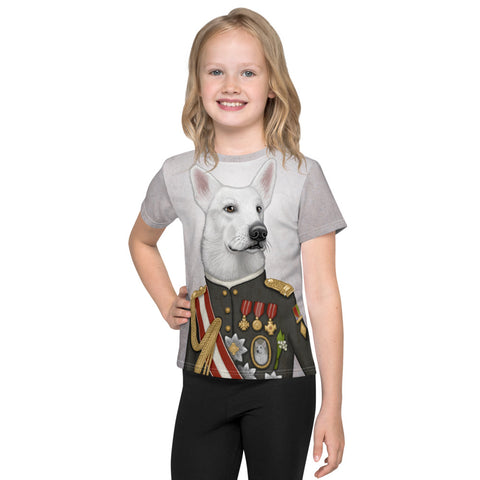 "Unisex kids T-shirt ""A king's face should show grace"" (White Swiss Shepherd Dog)"