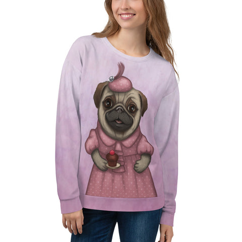 "Unisex sweatshirt ""A full stomach makes a happy heart"" (Pug)"