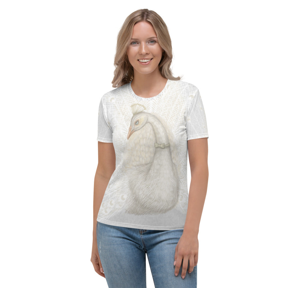 "Women's T-shirt ""Every bird is proud of its feathers"" (White Peacock)"