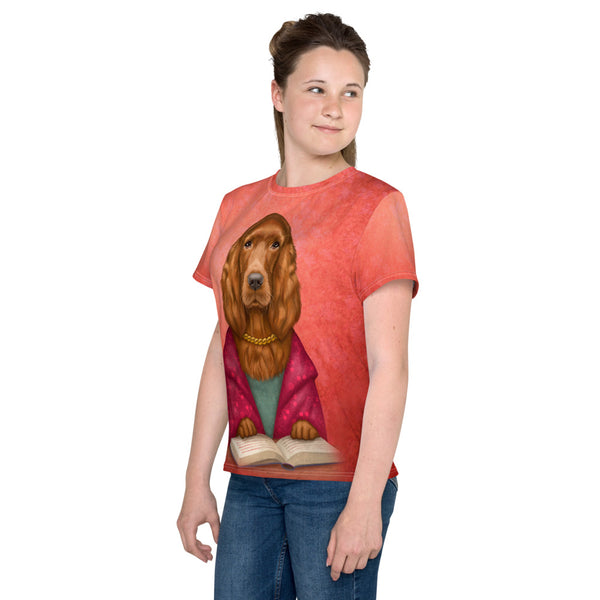 "Unisex youth T-shirt ""Reading books removes sorrow from the heart"" (Irish Setter)"