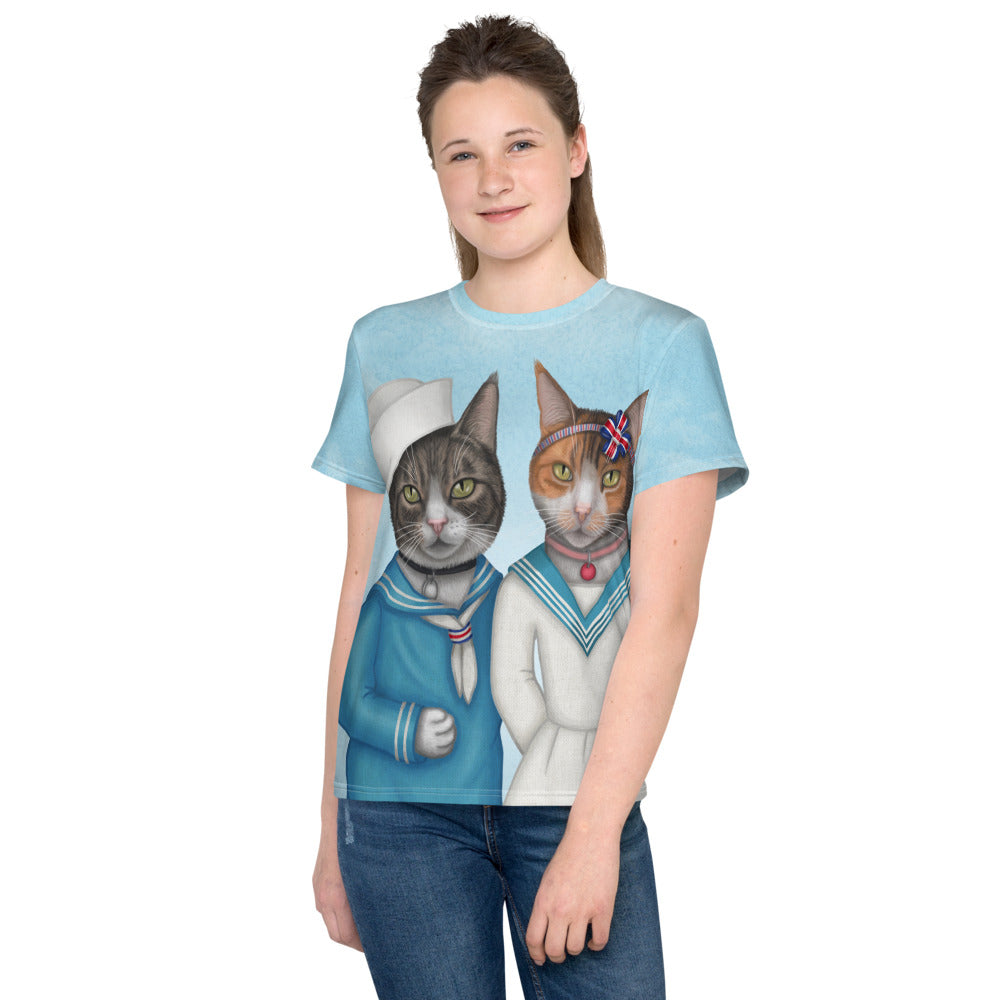 "Unisex youth T-shirt ""Brothers and sisters are as close as hands and feet"" (Cats)"