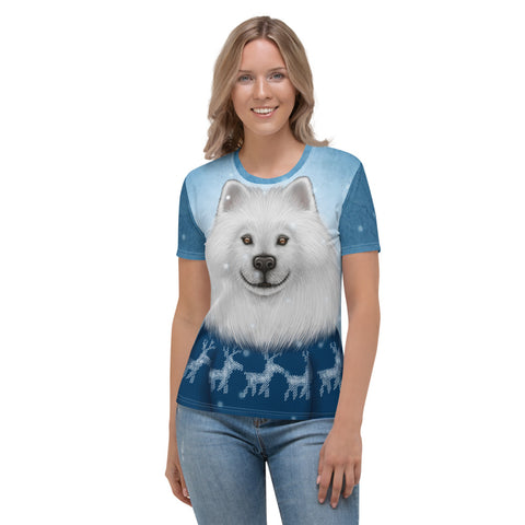 "Women's T-shirt ""No snowflake ever falls in the wrong place"" (Samoyed)"