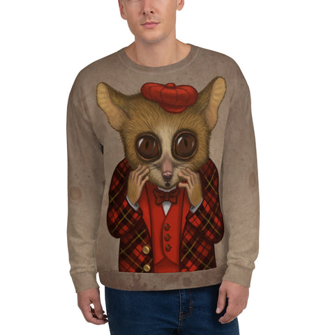 "Unisex sweatshirt ""Fear has big eyes"" (Mouse lemur)"